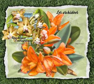 Central African Rep 2018 MNH Orchids Cattleya Vanda Orchid 1v S/S Flowers Stamps