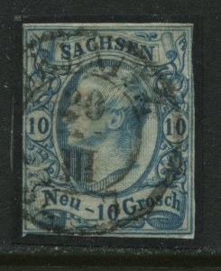 Saxony 1856 10 new groschen milky blue used