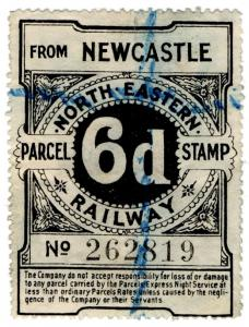 (I.B) North Eastern Railway : Parcel Stamp 6d (Newcastle)