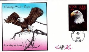 RARE Pugh Designed/Painted Priority Eagle FDC...6 of ONLY 12 created!
