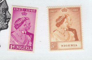 NIGERIA # 73-74 VF-MNH KGV1 1948 SILVER WEDDING (NIGERIA1)