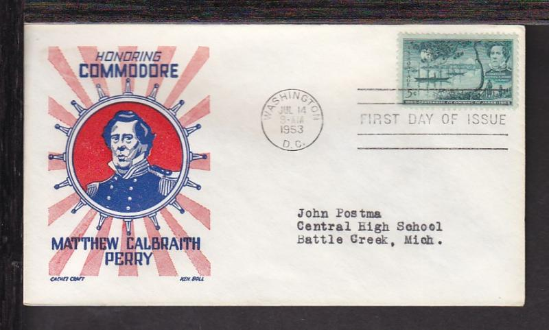 US 1021 Perry 1953 Cachet Craft Typed FDC