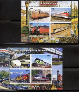 Niger 1998 Trains 6 Sheetlets  (4) + 3 S/S Yvert 1223/46+103/5  MNH