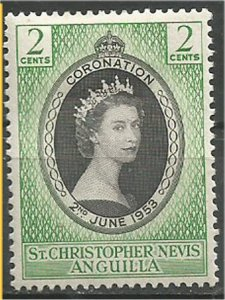 St. Christopher-Nevis-Anguilla,1953, MH, 2c, Coronation Scott 119