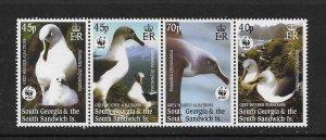 BIRDS - SOUTH GEORGIA #290-3a (row 2)  ALBATROSS   WWF   MNH