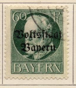 Bavaria 1919 Early Issue Fine Used 60pf. Optd 109349