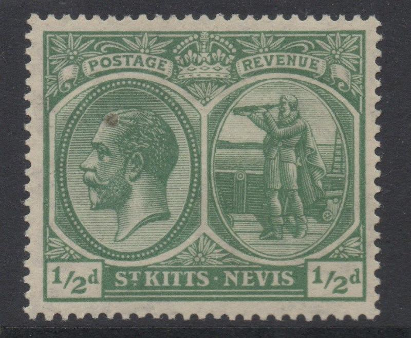 ST.KITTS & NEVIS;  1921 early GV issue fine Mint hinged 1/2d. value