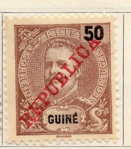 Portuguese Guinea 1911 Early Issue Fine Mint Hinged 50r. Optd 125440