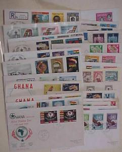 GHANA  25 DIFF. FDC 1957-1961 CACHET ADDRESSED