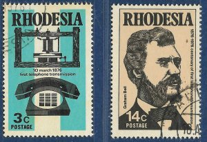Rhodesia sg 524-5 used 1976 set of 2 Telephone Centenary