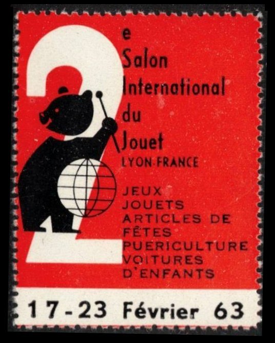 FRANCE, LYON 2e SALON INTERNATIONAL DU JOUET 17-23 FÉVRIER 63 POSTER STAMP