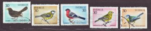 J22873 JLstamps 1970 sweden set used #873-7 birds