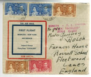 1931 Bermuda First FLight Cover to USA via Cavalier Flying Boat Imperial Airways