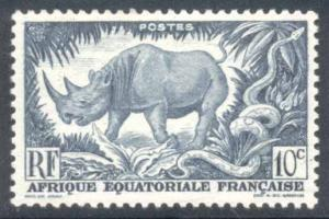 French Equatorial Africa ~ #166 ~ Black Rhinoceros ~ MH