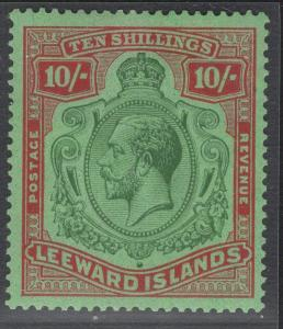 LEEWARD ISLANDS SG79e 1928 10/= GREEN & RED BREAK IN LINES LEFT SCROLL MTD MINT