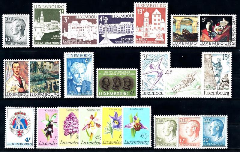 Luxembourg Luxemburg 1975 Complete Year Set  MNH