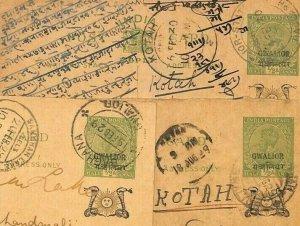 India States GWALIOR Overprints Stationery {3} Local *Sambhar Lake* 1929 CG255