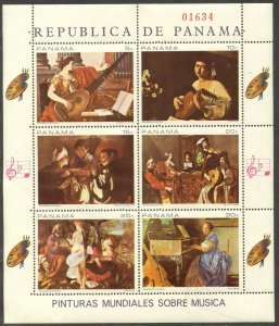 PANAMA Sc#488 1968 Music Paintings Complete M/S of 6 OG Mint NH