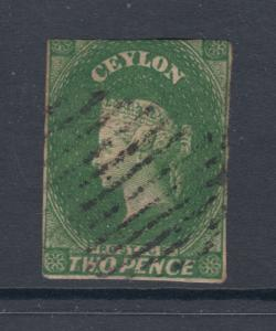 Ceylon Sc 4a used 1857 2p yellow green imperf QV, 2½ margins, small thin