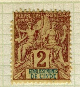 FRENCH INDIA; 1892 classic early 'Tablet' issue Mint hinged 2c. value