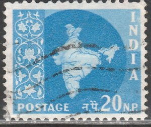 INDIA 284, MAP OF INDIA, USED, VF. (419)