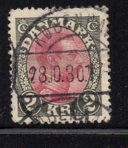 Denmark Sc 129 1925 2 kr gray & claret Christian X stamp used
