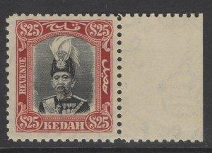 MALAYA KEDAH Bft4 1937 $25 BLACK & MAROON MNH