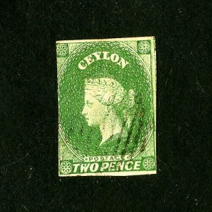 Ceylon Stamps # 4 Fresh Used Catalog Value $75.00