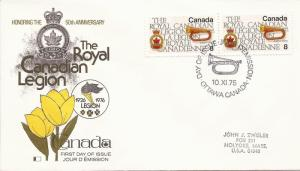 1975 Canada (Kingswood) FDC - Sc 680 - Royal Canadian Legion -Emblem & Bugle- pr