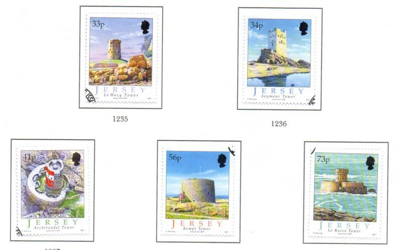 Jersey Sc 1178-82 2005 Martello Towers stamp set used