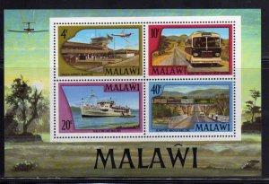 MALAWI 1977 TRANSPORT AIRPORT BUS SHIP CAR BLOCK SHEET BLOCCO FOGLIETTO MNH