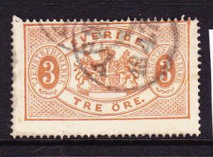 SWEDEN  1874-77  3ore ARMS OFFICIAL   P14  FU   Sc O1