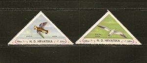 Croatia (Jugoslavia) Pair of Bird Triangles Mint Hinged