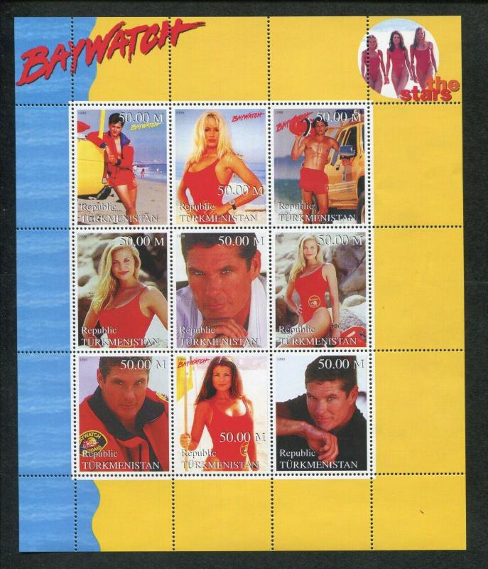 Turkmenistan Commemorative Souvenir Stamp Sheet - Baywatch Pamela Anderson