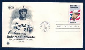 UNITED STATES FDC 20¢ Roberto Clemente 1984 Postal Society