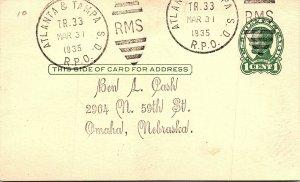 1935 Atlanta & Tampa S.D. R.P.O. Railway Post Office #185