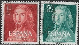 Spain 1961 Leonardo F. de Moratin SC# 971-972  /Used