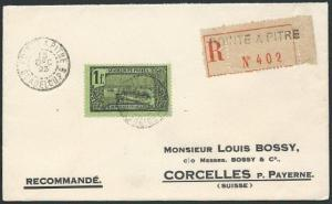GUADELOUPE 1929 cover Pointe a Pitre to Switzerland.......................46774