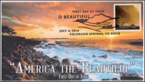 18-181, 2018, O' Beautiful, First Day Cover, Pictorial Postmark, Ke'e Beach, HI