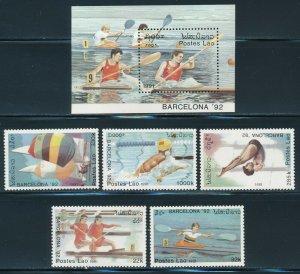 Laos - Barcelona Olympic Games MNH Sports Set Kayak (1992)