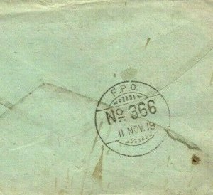 WW1 ARMISTICE DAY 1918 Soldiers Letter IRAQ Cover INDIA *FPO 366* Somerset MAL24