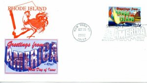 US FDC #3734 Greetings From Rhode Island, Artmaster (9548)