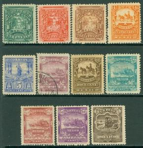 EDW1949SELL : MEXICO 1898 Sc #279-89 Very Fine, Mint OG. #284 VF, Used. Cat $837