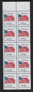 Catalog # 2784  Booklet  Pane of 10 Old Glory Flag Stamp Blue G  Color