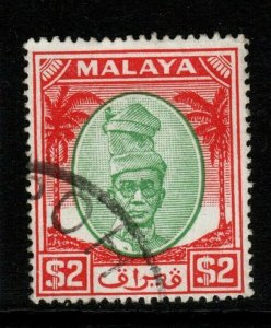MALAYA PERAK SG147 1950 $2 GREEN & SCARLET FINE USED