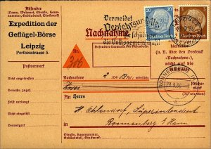 Germany 1936 cash on delivery card Nachnahme 23pf rate Bill from Stamp on Card