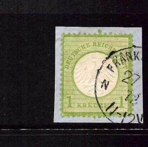 GERMANY  1872-74  1k  SMALL  SHIELD  FU  on piece  SIGNED  SG 8