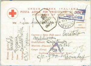 75573  - ITALY - Postal History - RED CROSS  Mail Card to INDIA   1945 - POW