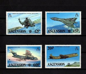 ASCENSION - 1983 - BRITISH MILITARY AIRCRAFT - HELICOPTER - VULCAN ++ MNH SET!