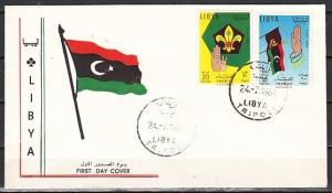 Libya, Scott cat. 252-253. Scouts of Libya, issue. First day cover.